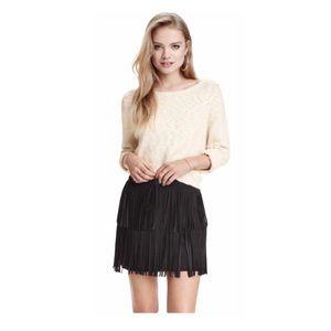 Forever 21 Fringe Mini Skirt Black Ultra-Suede 4
